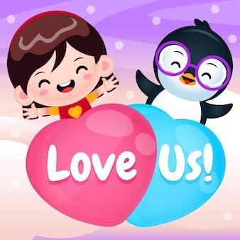 Desenho animado bonito garota e pinguim voando com balão de amor