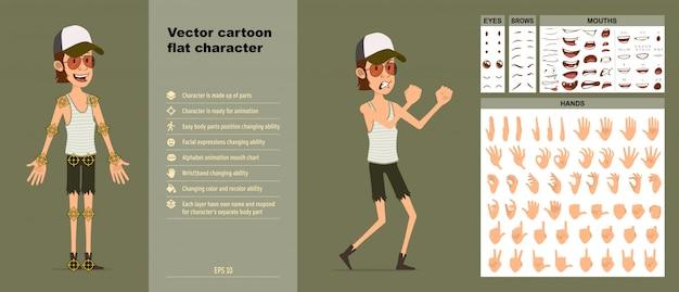 Desenho animado bonito hipster menino personagem grande conjunto de vetores