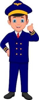 Desenho animado bonito jovem piloto polegar para cima