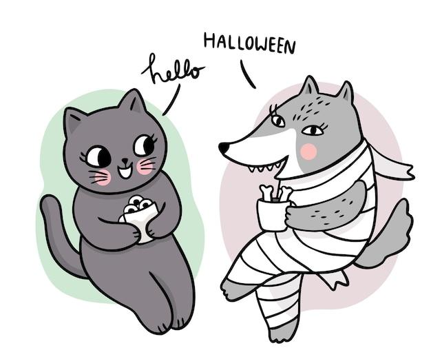 Desenho animado bonito mão desenhar bruxa gato preto e abóbora e esqueleto de cabeça vetor de dia de halloween
