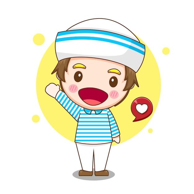 Desenho animado bonito marinheiro com balão de fala