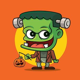 Desenho animado bonito monstro verde segurando a abóbora jack o lantern em um fundo de cor laranja