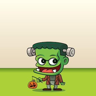 Desenho animado bonito monstro verde segurando a abóbora jack o lantern no fundo do espaço vazio