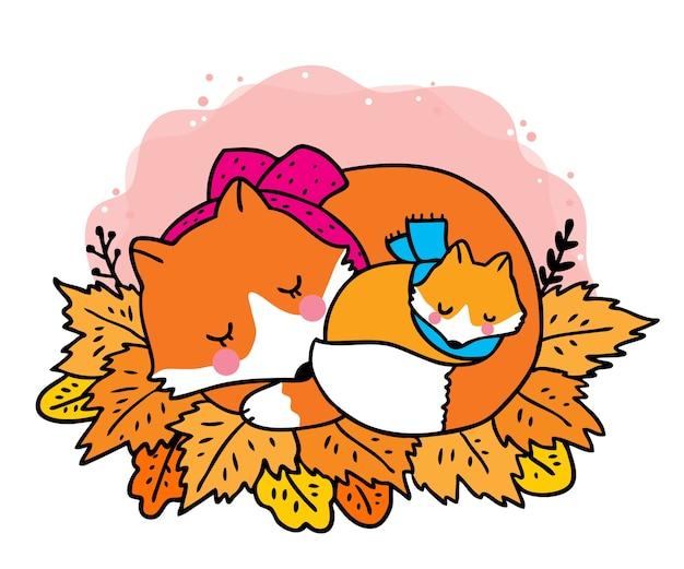 Desenho animado bonito outono, adorável mamãe e bebê raposas na folha laranja.