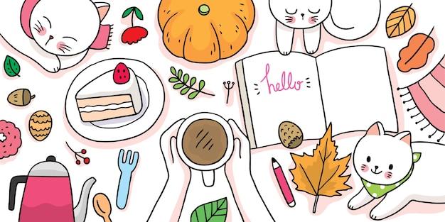 Desenho animado bonito outono, gato de vista superior e estilo de vida.