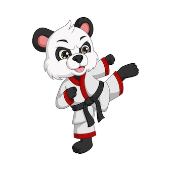Desenho animado bonito panda praticando caratê
