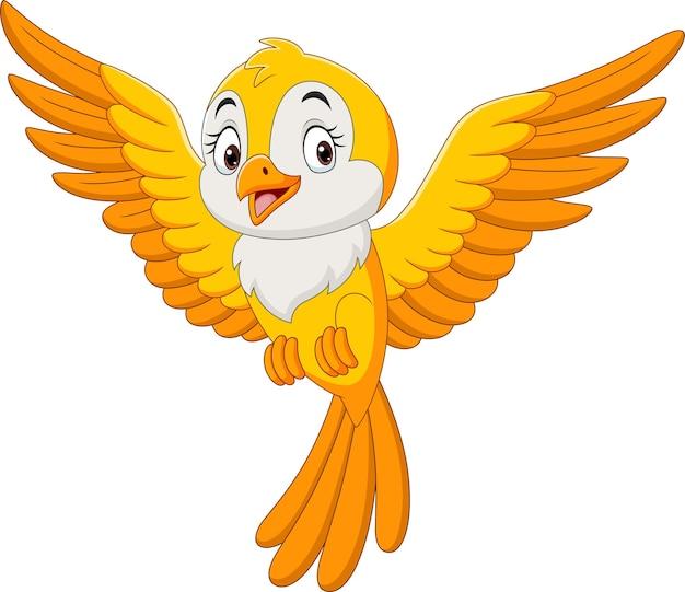 Desenho animado bonito pássaro amarelo voando