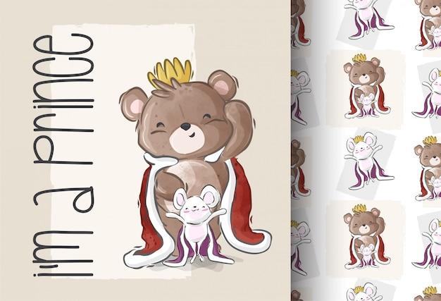 Desenho animado bonito um urso príncipe sem costura padrão