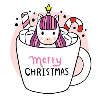 Desenho animado bonito unicórnio de natal e feliz ano novo e doce em vetor de xícara de café