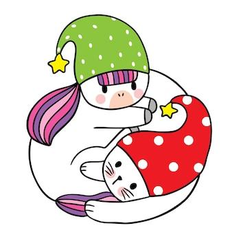 Desenho animado bonito unicórnio de natal e feliz ano novo e vetor de chapéu de gato e gnomo