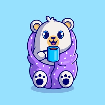 Desenho animado bonito urso polar vestindo cobertor e bebendo xícara de café quente