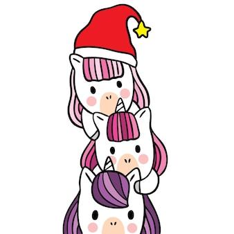Desenho animado bonito vetor de unicórnios de natal e feliz ano novo