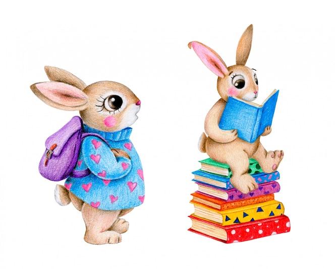 Desenho animado bonito volta ao conjunto de coelhinhos da escola. coelho com uma mochila, coelho está lendo um livro.