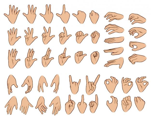 Desenho animado branco mãos humanas conjunto grande
