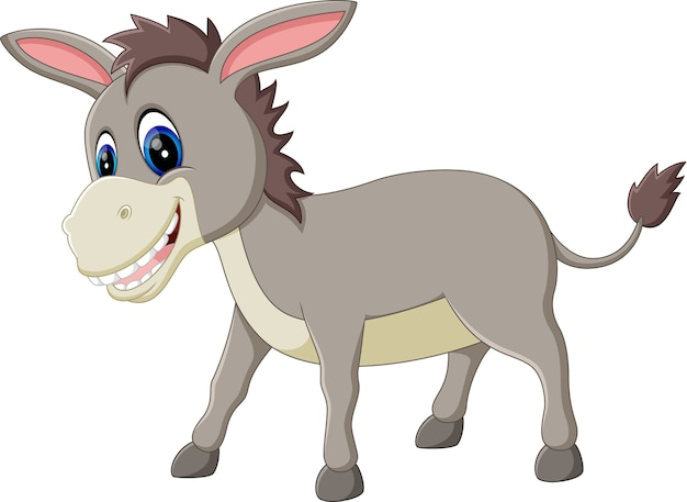 Desenho animado burro sorriso e feliz