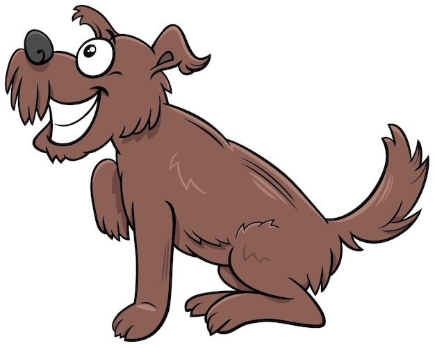 Desenho animado cão peludo marrom personagem animal em quadrinhos