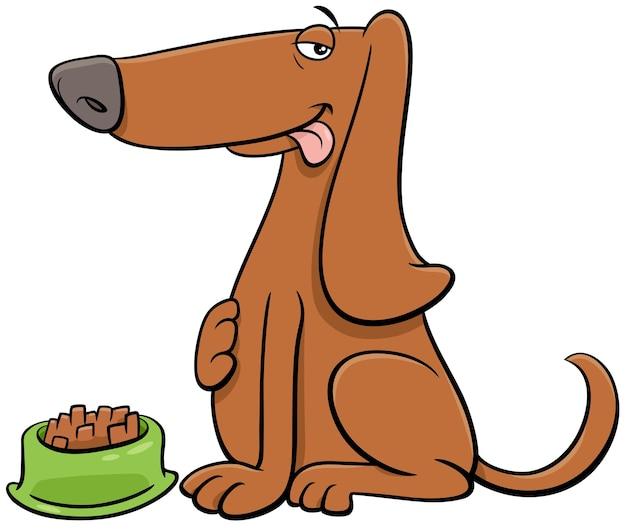 Desenho animado cão personagem animal com sua comida