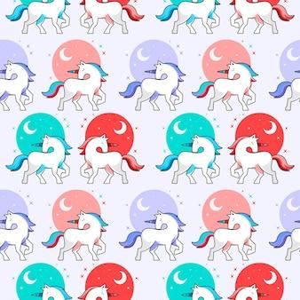 Desenho animado cavalo pônei padrão sem emenda de fundo animal fofo