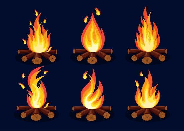 Desenho animado, chamas de fogo, fogueira, fogueira isolada no fundo. design plano