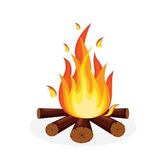 Desenho animado, chamas de fogo, fogueira, fogueira isolada no fundo.
