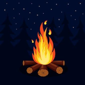 Desenho animado, chamas de fogo, fogueira, fogueira no fundo.