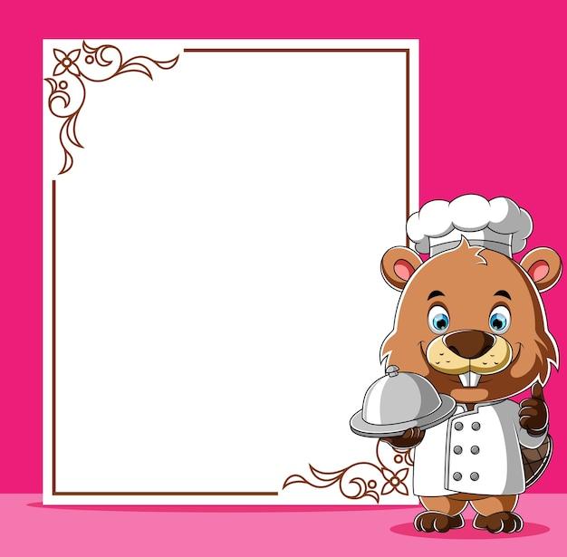Desenho animado chef castor em pé ao lado do quadro em branco para o menu