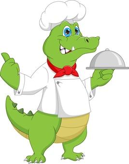 Desenho animado chef crocodilo carregando bandeja de comida