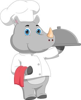 Desenho animado chef rinoceronte carregando bandeja de comida