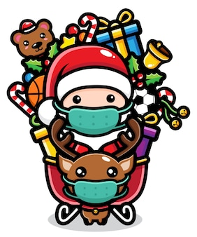 Desenho animado chibi com tema de natal