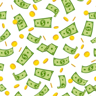 Desenho animado chuva de dinheiro padrão sem emenda. notas de papel verde e moedas de ouro voando no ar