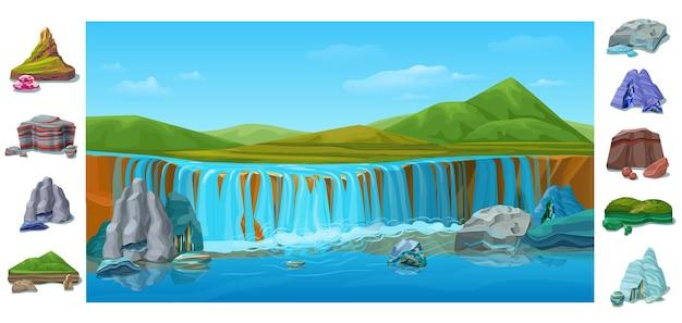 Desenho animado colorido bela paisagem natural com cachoeira colinas verdes montanhas diferentes pedras e rochas