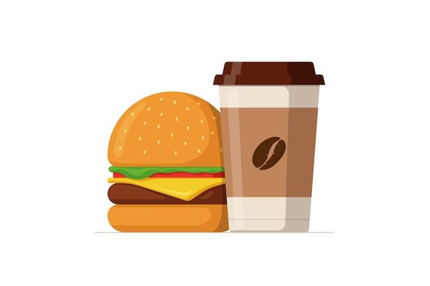 Desenho animado colorido saboroso hambúrguer e copo de papel descartável de hambúrguer ou cheeseburguer com comida quente