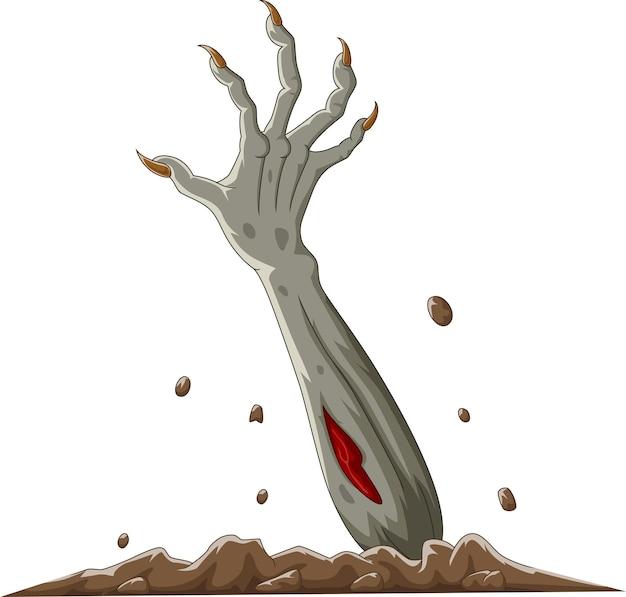 Desenho animado com a mão do zumbi do halloween levantada do chão
