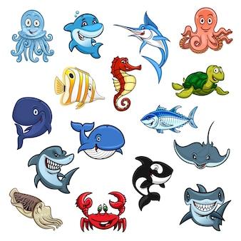 Desenho animado com animais marinhos e peixes do oceano