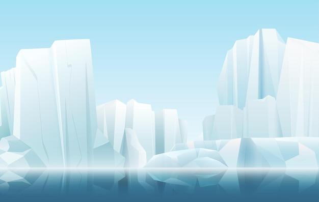 Desenho animado com cores suaves, natureza, inverno, ártico, nevoeiro gelado, montanhas de neve cristalina, iceberg