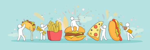 Desenho animado com pequenas pessoas e fast food. ilustração desenhada à mão