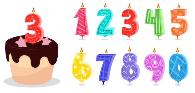 Desenho animado comemorativo de velas com números de aniversário