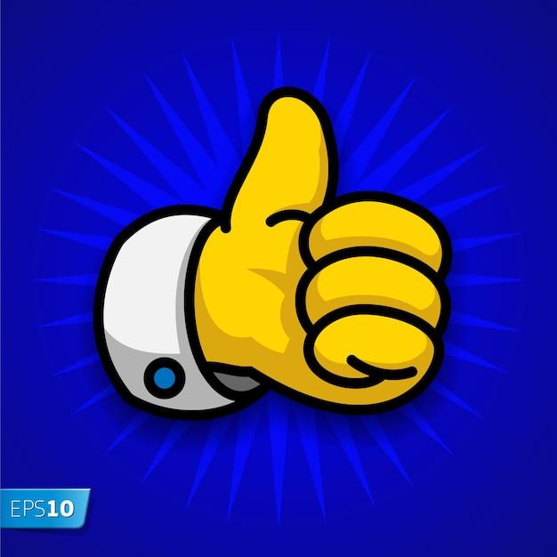 Desenho animado como símbolo ilustração em vetor polegar para cima
