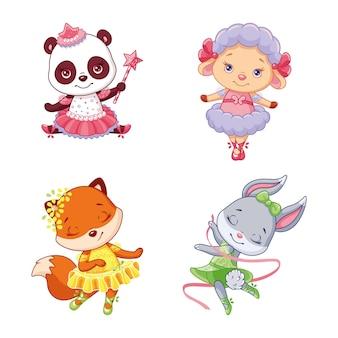 Desenho animado conjunto animais ilustração de bailarinas isoladas