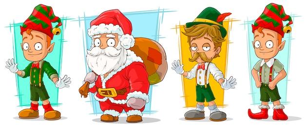 Desenho animado conjunto de caracteres de papai noel e elfo