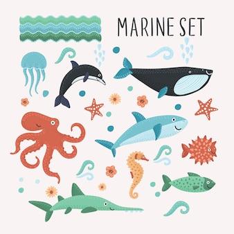 Desenho animado conjunto de ilustrações de diferentes tipos de criaturas marinhas engraçadas
