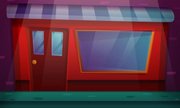 Desenho animado construindo com uma vitrine, ilustração