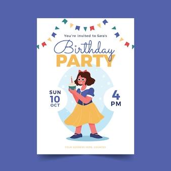 Desenho animado convite de aniversário de branca de neve