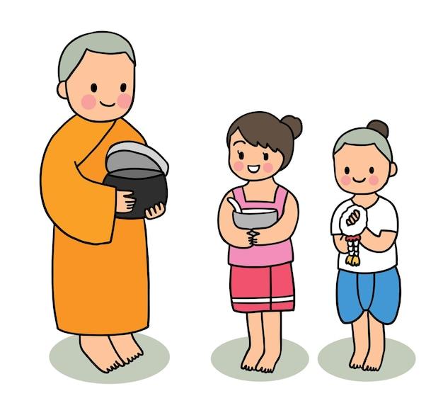 Desenho animado cortado festival songkran tailândia, monk e crianças fazem mérito.