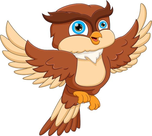 Desenho animado coruja voando