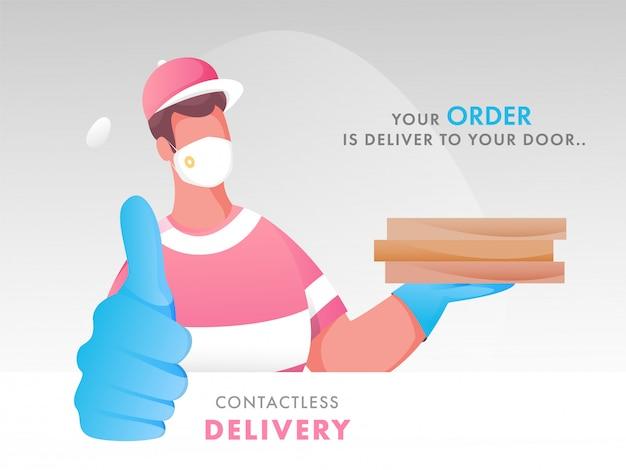 Desenho animado courier boy vestindo máscara protetora com mostrando o polegar e dada ordem de mensagem entregar à sua porta para conceito de entrega sem contato.