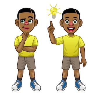 Desenho animado criança negra pensando e encontre a ideia