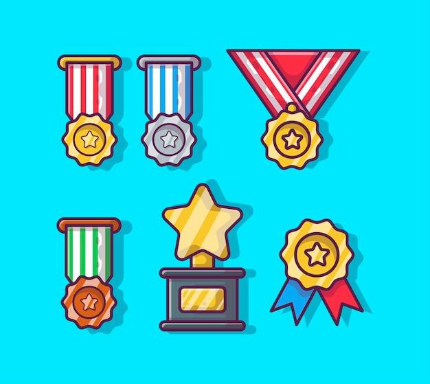Desenho animado da coleção de medalhas e troféus