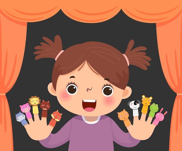 Desenho animado da menina jogando teatro de fantoches de dedo de animal.