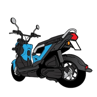 Desenho animado da vista traseira da mini bike